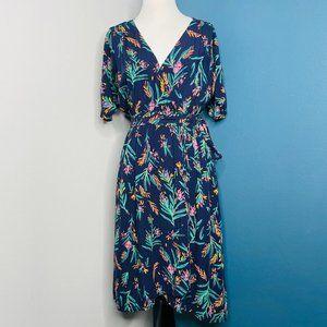 Modcloth Blue Floral Dress Size S Small Faux Wrap